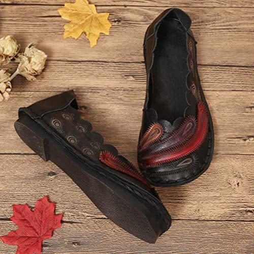 Tamaño Asian 37 Zapatos Mocasines La Negro Uk Plumas Mujer Con 3 Hhgold Cuero color Vintage 5 Rojo De fwPPqS