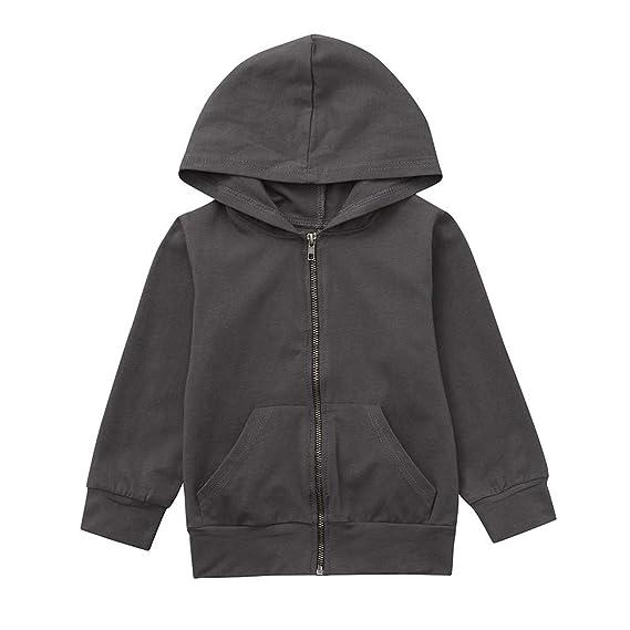 YanHoo Ropa para niño Abrigo de suéter con Capucha Color sólido de Manga Larga para niños Manga Larga Sudadera con Capucha Top Ropa Pullover Ropa de Abrigo ...
