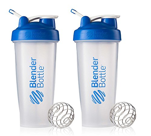 BlenderBottle Classic Loop Top Shaker Cup, 28-Ounce, Blue/Clear, 2-Pack