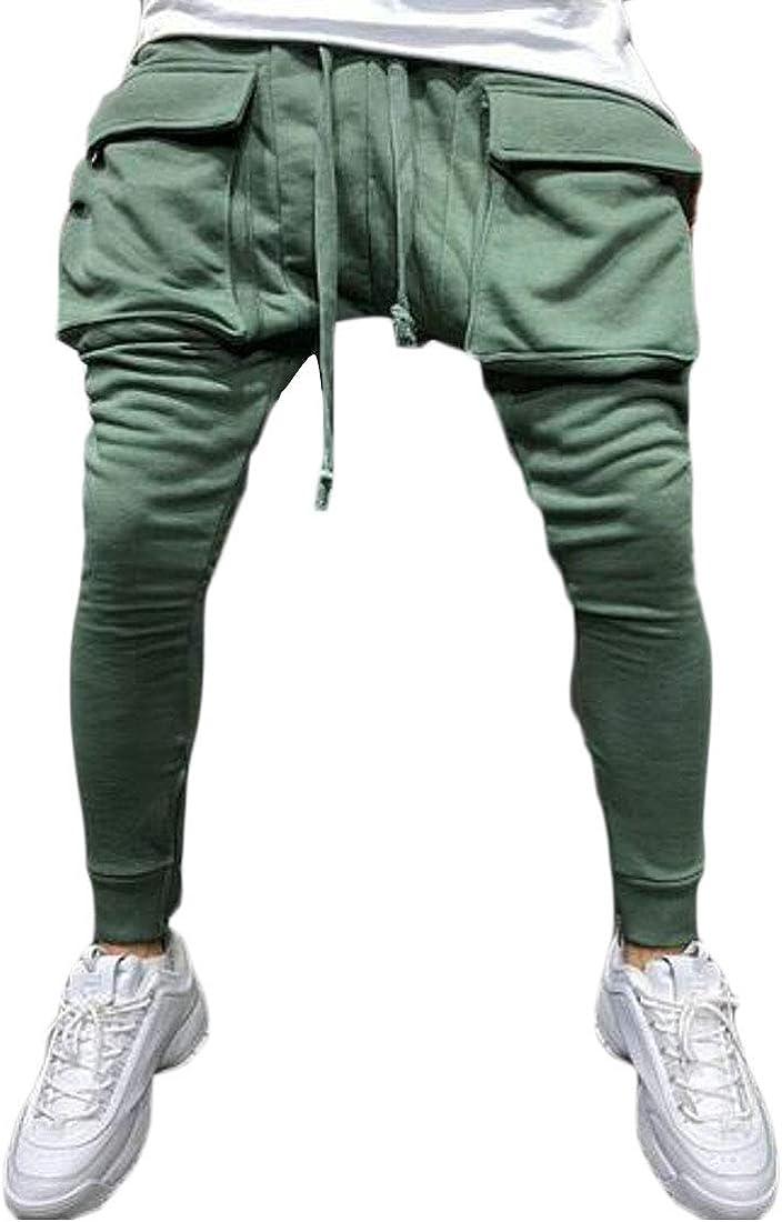 UUYUK Men with Zip Deco Sport Gym Workout Big Pockets Hip Hop Jogger Pants Sweatpants