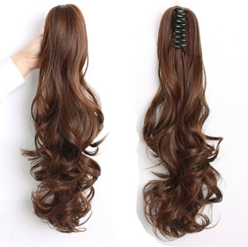 TheFashionWay 24'' Long Thick Claw Jaw Ponytail Big Wave Clip in Natural Looking Pony Tail Hair Extensions (#27)