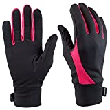 TrailHeads Running Gloves | Lightweight Gloves with Touchscreen Fingers | The Elements -black/bright coral
