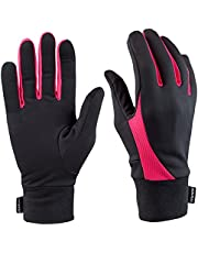 TrailHeads Running Gloves for Women   Lightweight Gloves with Touchscreen Fingers -Black/Bright Coral