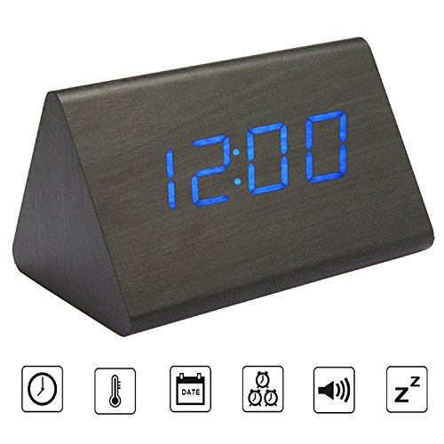 Triangle Black Clock (Bioeilife Wooden Alarm Clock, Triangle USB Digital Alarm Desk Clock With Time Temperature And Voice Control (Black(Blue LED)))