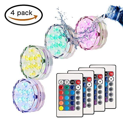 MOONBROOK Submersible LED Light (4 pcs), Waterproof Multi-Color Pool Light Pond Light Remote Control Hot tub Fountain Vase Decoration Light Garden Wedding Halloween by MOONBROOK
