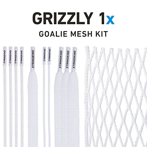 (String King Grizzly 1x Semi-Hard Goalie Lacrosse Mesh Kit with Mesh &)