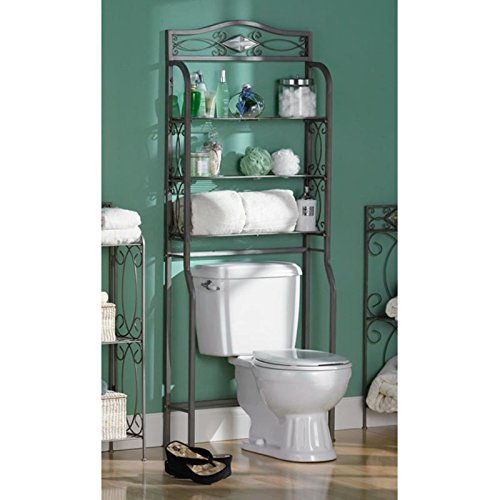 Metal Space Saver Over The Toilet with Three Wire Shelves for Storage Durable Metal Construction Powder Coated Pewter Gun Metal Finish Home Bathroom Furniture and Décor Gray by AVA Furniture