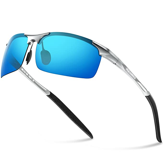 f7006044b43 Pulabecs Men s Sports Style Polarized Sunglasses Driver Glasses Unbreakable  Frame PS071 (Silver Frame Blue Lens  Amazon.in  Clothing   Accessories