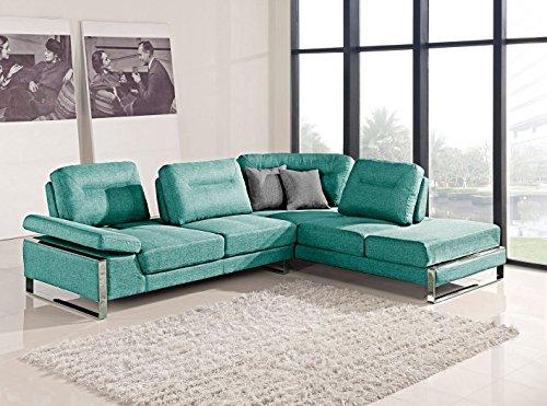 At Home USA - Verona Sectional L Shape Right Facing Sofa with Adjustable Back, Neomi Aqua ()