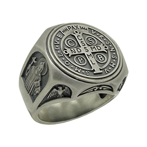 Saint Benedict Sterling Silver 925 Christian Roman Catholic Exorcism Mens Ring , Demon Protection by SECRETIUM