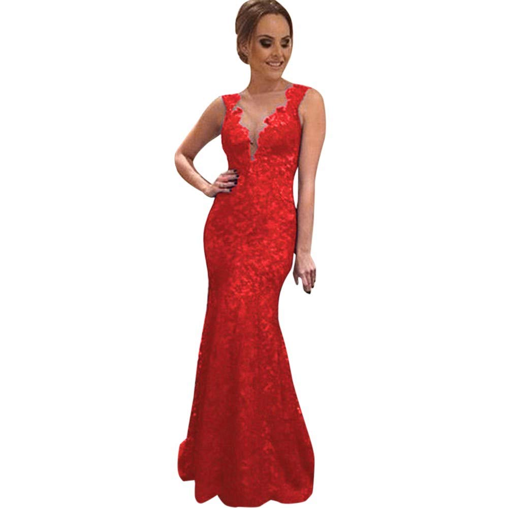 Pervobs Dress, Clearance! Women Long Dress Solid Lace Backless Sleeveless Evening Party Prom Bridesmaid Ball Gown Dresses (XL, Red)