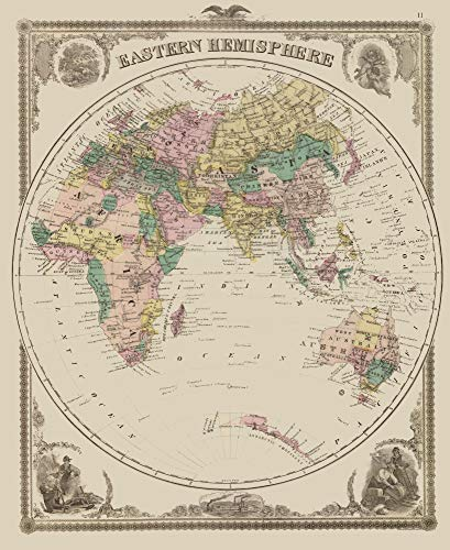 MAPS OF THE PAST Eastern Hemisphere - Andreas 1875-23 x 28.15 - Glossy Satin Paper