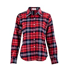 SODIAL(R) Womens Button Down Lapel Shirt Plaids & Checks Flannel Shirts Tops Blouse-Red & White XXL