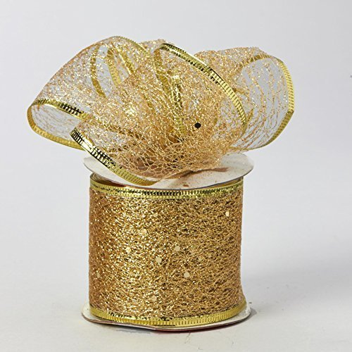 Decorative Tulle Glitter Mesh Wrap Ribbon Roll 2.5 inch x 10 Yard (Gold)