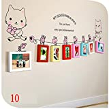 Korea wall sticker Creative gifts cat wood photo frame wall hanging girls Room 7-8 multi-color mix the living room photo wall , 10-YS