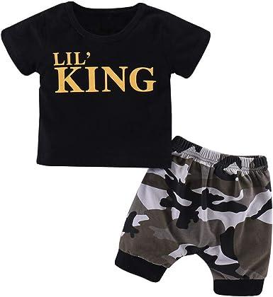 Lananas Bebé Niños Ropa, 2pcs Sets Letras King Algodón Camiseta ...