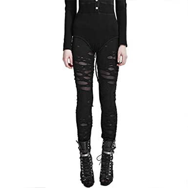 98682731c9e41 PUNK Women Stretch Leggings Hole Fashion Rock Tights Footless Victorian  Style (S, Black)