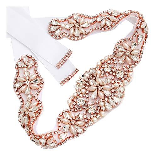 (Yanstar Handmade Rose Gold Crystal Bridal Belts Sashes Wedding Belt With Rhinestones For Wedding Bridesmaid Dress (Rose-White))