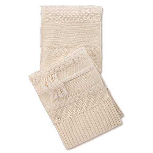 UGG Women's Cable Fringe Scarf Ivory Scarf One Size by UGG