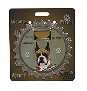 I Love My Boxer: 3 in 1 Coaster, Bottle Opener and Magnet
