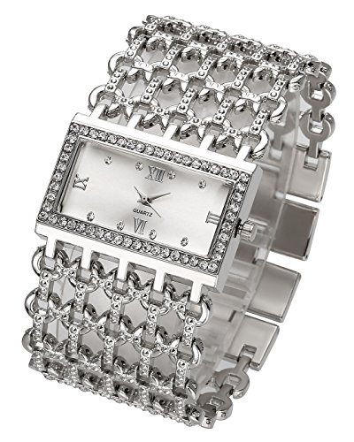 Top Plaza Women Luxury Fashion Bracelet Analog Quartz Watch Silver Tone Big Face Wide Band Rhinestone Decorated Roman Numerals Waterproof Cuff Watch,Rectangle Case 38×25 MM