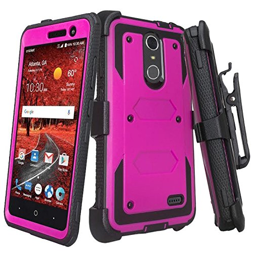 [GALAXY WIRELESS] Compatible For ZTE ZMAX One (Z719DL) Case,ZTE Grand X4 Case,ZTE Blade Spark Z971 Case [Shock Proof] Heavy Duty Belt Clip Holster,Full Body Coverage [Built In Screen Protector] Purple