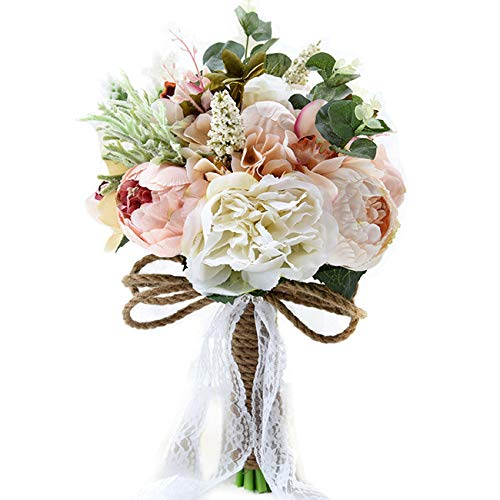 Pauwer Artificial Peony Rose Flower Bouquet for Bride Bridesmaid Handmade Wedding Bouquet Silk Bridal Bouquet Holding ()