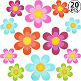 20 Pieces Floral Non-Slip Bathtub Adhesive Stickers Daisy Bath Treads and Anti-Slip Appliques for Bath Tub, Stairs, Shower Room and Other Slippery Surfaces, Multi-Color