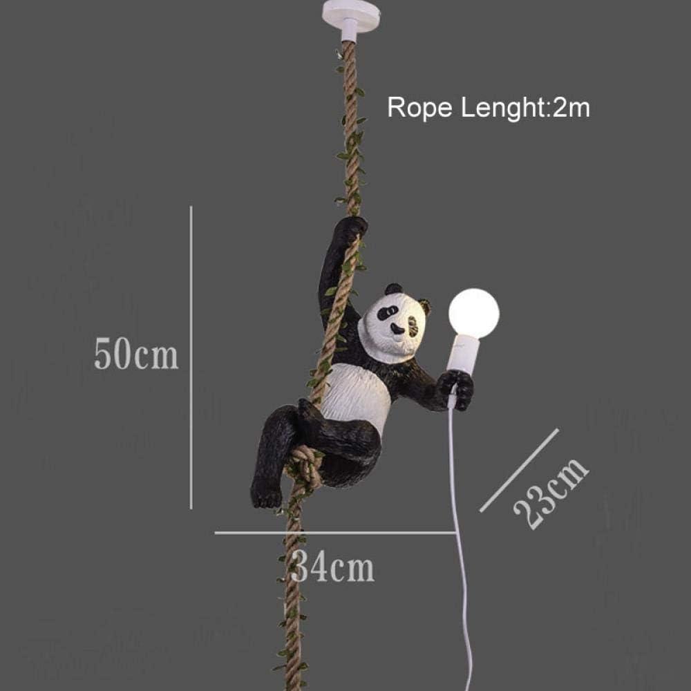 L/ámpara de mono Panda n/órdico L/ámpara colgante Resina Cuerda de c/á/ñamo animal L/ámpara colgante L/ámpara colgante para habitaci/ón de ni/ños-Pared de mono negro