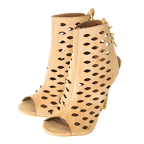 Ladies Womens High Stiletto Heel Cut Out Shoe Boot 3 NUDE SUEDETTE re1rG4Uu