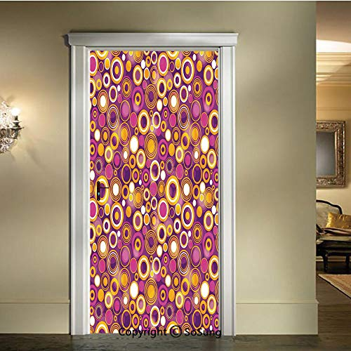 baihemiya Door Wallpaper Murals Wall Stickers,Retro 70s Like Vintage Circles and Rounds Water Drops Like Image Artwork,W30.3xL78.7inch,for Home Room DecorMulticolor ()