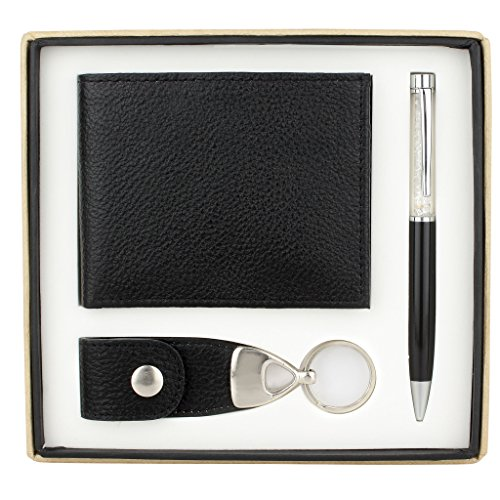 Genuine Leather Wallet Gift Set for Special Someone | Includes Genuine Leather Wallet, Leather Key Chain and a Pen (New York Black)
