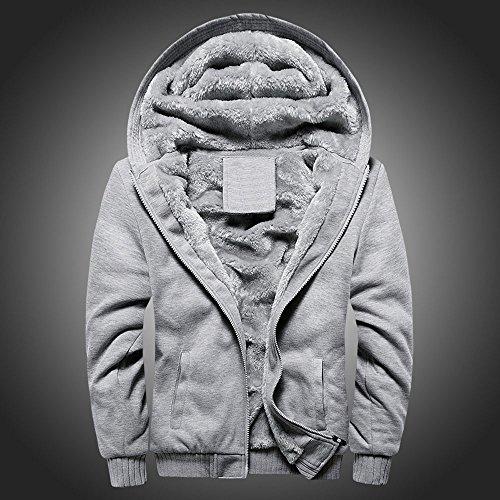 Toimothcn Mens Faux Fur Lined Coat Winter Warm Fleece Hood Zipper Sweatshirt Jacket Outwear (Gray2,XXXXXL)