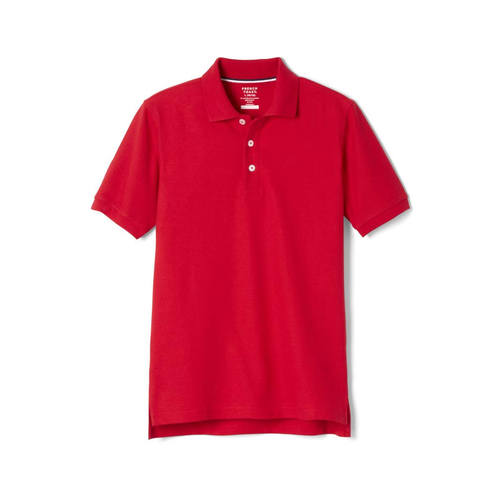 School Uniform Unisex Short Sleeve Pique Knit Shirt By French Toast, Red 31935-8
