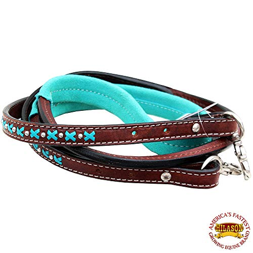(HILASON 8Ft Leather Suede Covered Horse Tack Roping Barrel Reins)