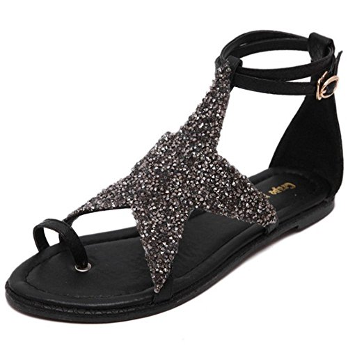 COOLCEPT Zapatos Mujer Correa En T Thong Sandalias Five-pointed star Hollow Verano Tacon De Vaquero Tongs Negro