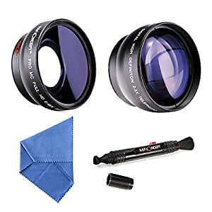 K&F Concept 58mm Digital High Definition Film Coated 2.2X Telephoto Lens + 0.45X Wide Angle Lens + Microfiber Cleaning Cloth + Cleaning Pen for Canon Rebel T5i T3i XTi XS T4i T2i XT SL1 T3 T1i XSi EOS 1000D 600D 450D 100D 650D 700D 550D 400D 500D 300D 1100D
