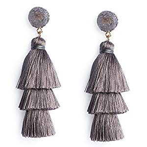 Me&Hz Colorful Layered Tassel Earrings Bohemian Dangle Drop Earrings for Women Girls Tiered Tassel Druzy Stud Earrings Women Gifts