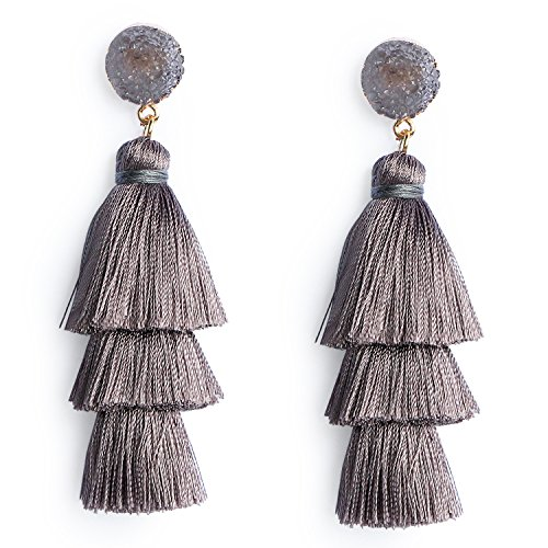 Crystal 3 Drop Chandelier Earrings - Women's Grey Layered Tassel Earrings Dangle Bohemian Long Fringe Earring Statement Fashion Tassel Drop Earrings