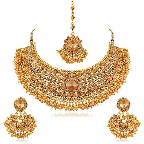 Aheli Indian Wedding Designer Faux Kundan Encrusted Choker Necklace with Maang Tikka Set Party Ethnic Fashion Jewelry for Women -