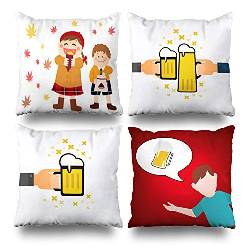 Pakaku Set of 4 Decorativepillows Case Throw Pillows Covers for Couch/Bed 18 x 18 inch, Happy Girl Boy Eating Sweet Home Sofa Cushion Cover Pillowcase Gift Bed Living Home ()