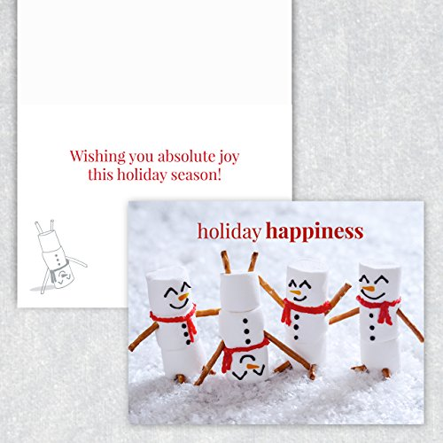 Marshmallow Snowmen Holiday Card Pack - Set of 25 cards - 1 design, versed inside with envelopes Photo #3