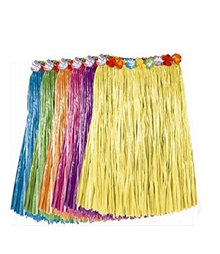 BOSHENG Tropical Multi-Colored Artificial Grass Hula Skirts Adult Size,Set of 6