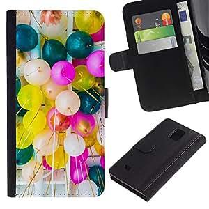 Samsung Galaxy Note 4 IV / SM-N910 Modelo colorido cuero carpeta tirón caso cubierta piel Holster Funda protección - Birthday Balloons Colorful Party Event