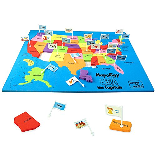 Imagimake: Mapology USA with Capitals- Learn USA States Along with Their Capitals and Fun Facts- Fun Jigsaw Puzzle- Educational Toy for Kids Above 5 -