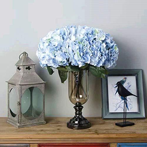 Jasion Artificial Flowers Hydrangeas Flowers 5 Big Heads Silk Bouquet for Office Home Party Decoration (Light Blue)