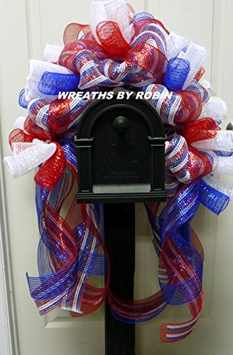Patriotic Mailbox Rail, RWB Mailbox Decoration