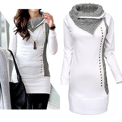 Cowl Rivet (Minisoya Women Cowl Neck Sweatshirt Pullover Long Sleeve Knit Rivet Long Sheath Slim Hoodie Tops Tunic Blouse T-Shirt (White, XL))