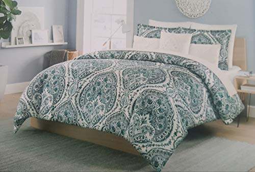 (Cynthia Rowley King Duvet Cover Set Ornate Teal Black Gray Scroll Medallion Bohemian Medallion 3 Piece Cotton Bedding (Teal, King))
