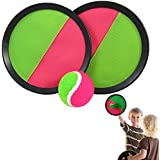 Catch Ball Set - Self Stick Toss and Catch Sports Family Game with 2 sets of 2 Paddles and Ball for Ages 3 and Up | Paddle Ballgame with Catch Mitt and Activity Ball for Outdoors